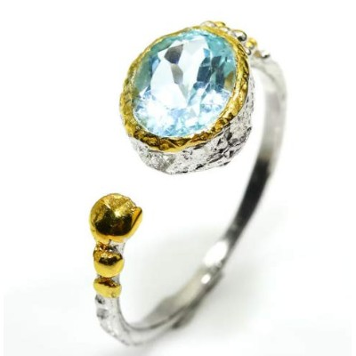 Fineart Jewelry Natural Blue Topaz 925 Sterling Silver Ring Fashion ファインアートジュエリーナチュラルブルートパーズ925スターリン...