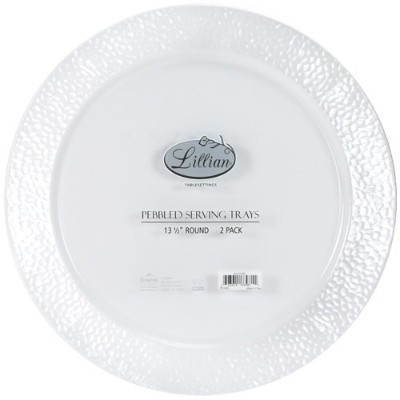 Lillian Tablesettings Round Pebbled Tray (Pack of 2), 36cm, Pearl