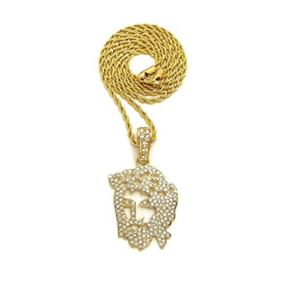 """Iced Out Jesus Faceペンダント24でさまざまなチェーンネックレス""""ゴールドトーン"""