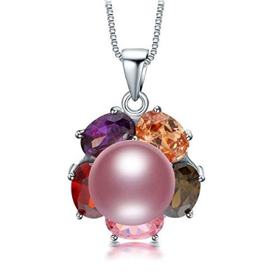 Copper Slide Real Natural Freshwater Purple Pearl Pendant Necklace