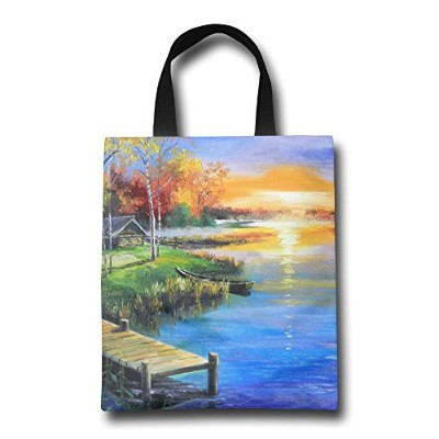 GJOHKRT Shopping Handle Bags -Oil Painting Village Personalized Tote Bag