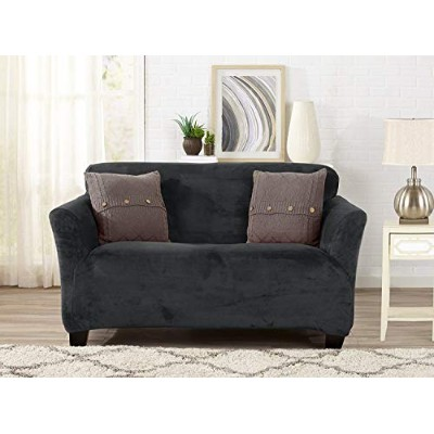 (Loveseat, Dark Grey) - Form Fit, Slip Resistant, Stylish Furniture Shield/Protector Featuring...
