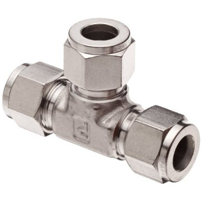 Parker A-Lok 1ET1-316 316 Stainless Steel Compression Tube Fitting, Tee, 1/16 Tube OD by Parker