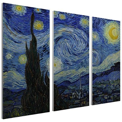 "Pingo World 0227qw2bb9s "" Starry Night by Van Gogh "" Gallery Wrapped Triptychキャンバス壁アート、48 "" x 30 """