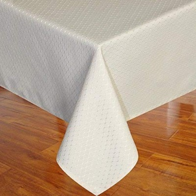 (60Wx102L, Beige) - Eforcurtain Elegant Waffle Polyester Table Cover Rectangle Tablecloth Stain...
