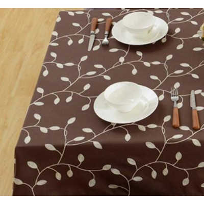 (150cm x 230cm, Coffee) - Tina Cotton Linen Tablecloth Leaf Embroidered Table Cover for Dinner...