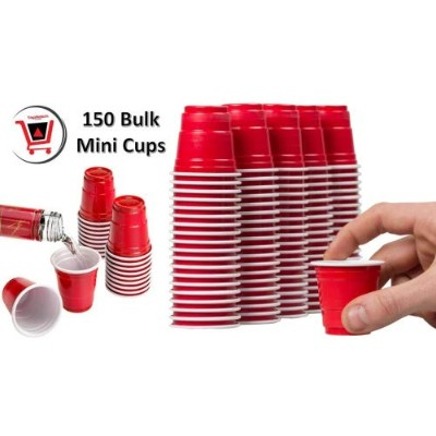 Disposable Shot Glasses - Mini Solo Cups (150 Bulk Red Cups) - Plastic Shot Cups - Jello Shots -...