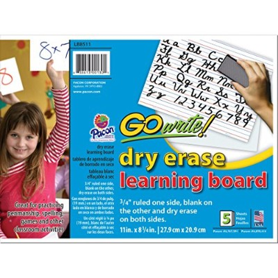 Gowrite Dry Erase 2 Sided Learning Boards, 8.25 X 11 Inches, White, 5 Boards (LB8511) by GoWrite!