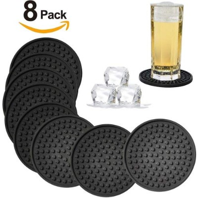 (Black-Heart) - Silicone Drink Coasters Set of 8 -Deep Tray,Large 11cm Size Protect Table Desk From...