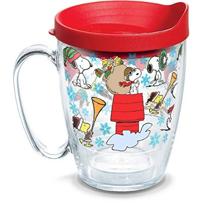 (470ml Mug) - Tervis 1312737 Peanuts-Christmas Collage Insulated Tumbler with Wrap and Red Lid,...