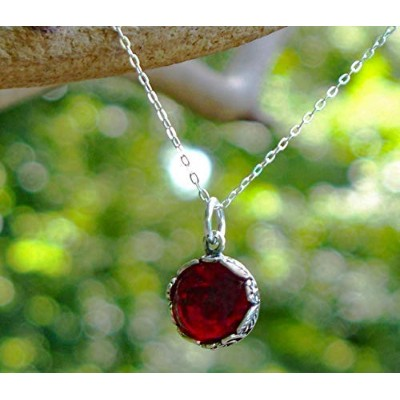 Recycled Vintage 1940's Red Beer Bottle and Sterling Silver Botanical Collection Necklace