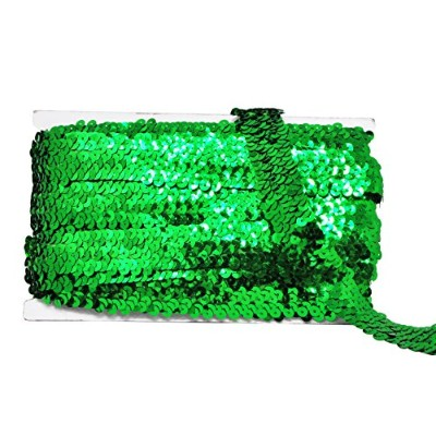 (2.5cm 4 Rows, Green) - Mandala Crafts Flat Glitter Metallic Bling Elastic Paillette Applique...
