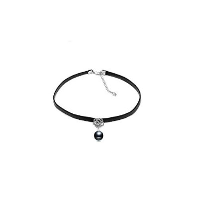 Black pearl choker necklace for women leather necklace [並行輸入品]