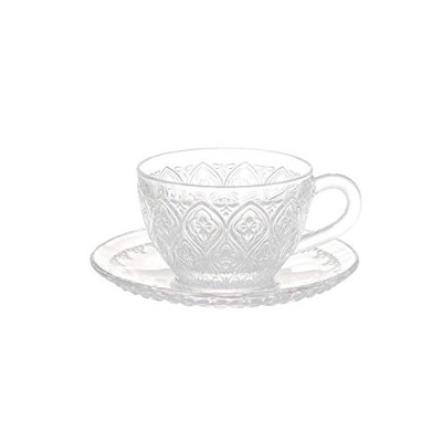 """GLASS CUP & SAUCER ''FIORE'' CLEAR グラスカップ&ソーサー """"フィオーレ"""""""