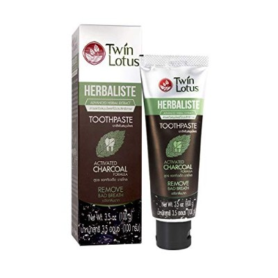Twin Lotus Active Charcoal Toothpaste Herbaliste Triple Action 100g (3.52 Oz) X 1 Tube by Twin Lotus