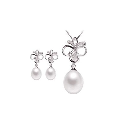 Natural White Pearl Set for women Freshwater Pearl Jewelry [並行輸入品]
