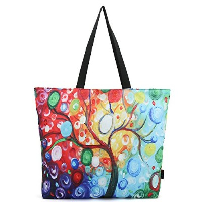 ICOLOR Colourful Tree Large Eco Reusable Eco-friendly Shopping Bag Handle case Bag School Travel...