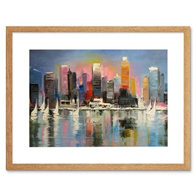 City Harbour Urban Painting Art Print Framed Poster Wall Decor 12x16 inch シティ港ペインティングポスター壁デコ