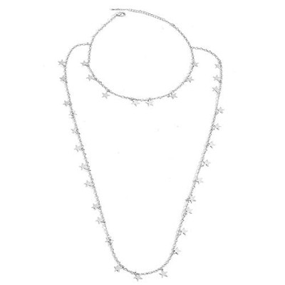 Choker Necklace Delicate Double Layers Alloy Silver Star Long Necklace [並行輸入品]
