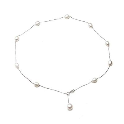 White color pearl pendant necklace for women [並行輸入品]