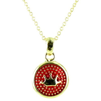 Red on Gold Plated Small Round Crown Symbol Necklace
