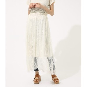 【SALE 30%OFF】【AZUL BY MOUSSY】チュールレーススカート WHT