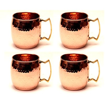 Moscow Mule 100% Solid Pure Copper Mug/Cup (473ml/4のセット、ハンマー、ニッケルLined) - Saint Jacques