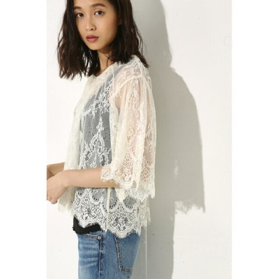 【SALE/55%OFF】AZUL by moussy レース半袖プルオーバー アズールバイマウジー カットソー【RBA_S】【RBA_E】