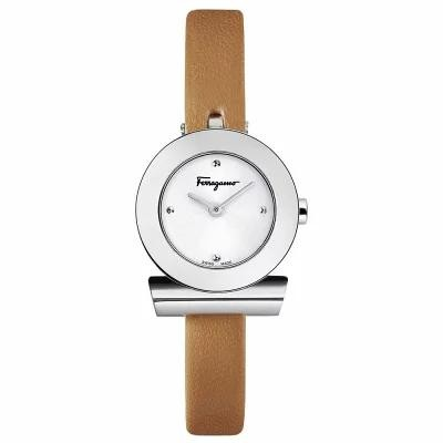 フェラガモ Ferragamo 腕時計 Swiss Gancino Brown Leather Strap Watch 22mm Silver