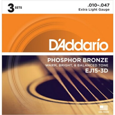 D'Addario 《ダダリオ》 EJ15-3D [Phosphor Bronze Extra Light Multi-Packs]