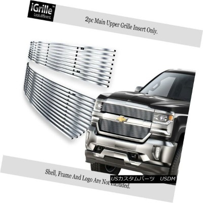 USグリル Fits 2016-2018 Chevy Silverado 1500 Reg Model Stainless Steel Billet Grille 2016-2018 Chevy...