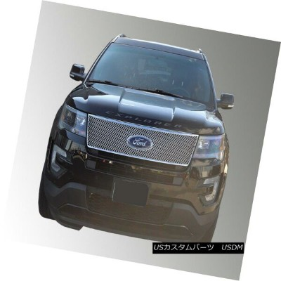 USグリル Fits 16-17 FORD EXPLORER BASE/XLT/LIMITED/SPORT - Chrome Grille Insert/Overlay フィット16-17 FORD...