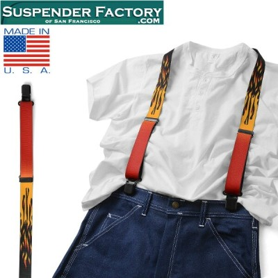 【20%OFFクーポン対象品】SUSPENDER FACTORY サスペンダーファクトリー FLAMES 総柄サスペンダー MADE IN USA《WIP》ミリタリー 軍物 メンズ 男性 ギフト...