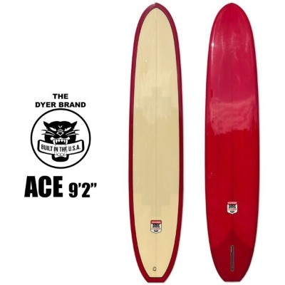 """THE DYER BRAND ACE 9'2"""" ノーズライダー クラシック ロングボード シングルフィン RED/BEIGE"""