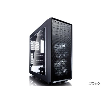FractalDesign FD-CA-MESH-C-BLO-TG FractalDesign Meshify C Blackout Tempered Glass角形メッシュのフロントデザインミドルタ...