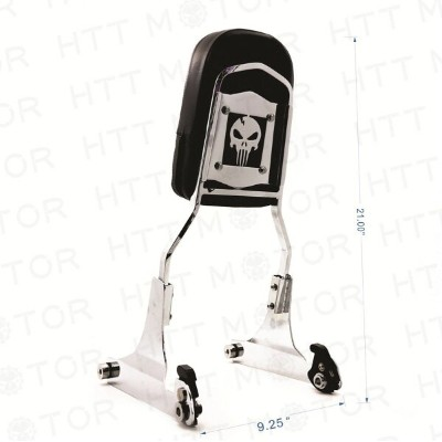 シーシーバー Harley 取り外し可能な背もたれSissyバーChrome Skull For 84-99 Harley Softail FXSTC FLSTC Detachable...