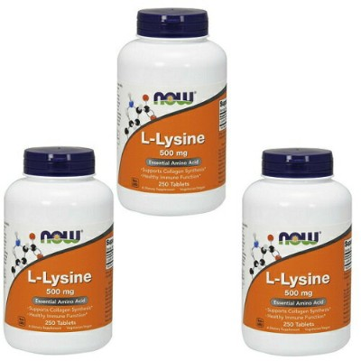 Now L-Lysine 500 mg 250 tablets 3 bottle set L-リジン 500mg 250タブレット 3本セット