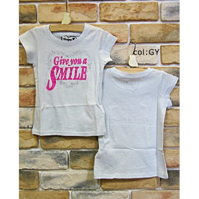 【60%off SALE】【F.O.KIDS エフオーキッズ】☆キラキラハートでオシャレに♪Give you a SMILE・Tシャツ☆【ベビー&キッズ服】メール便可