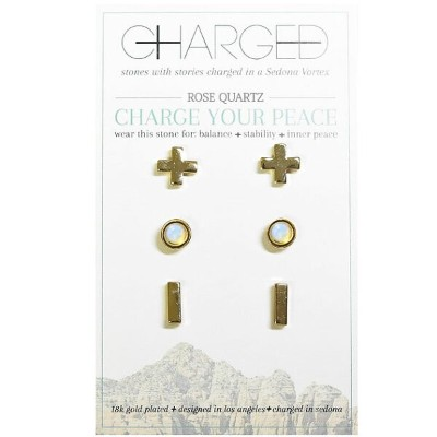 ≪Charged Jewelry≫ チャージド・ジュエリー全4色 チャージデザイン ひと粒 天然石 オパール ピアス 3点セット Charged Gemstone Earrings Set ...