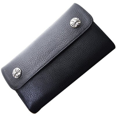 CHROME HEARTS(クロムハーツ) ウェーブ・クロスボタン・ブラック・ヘビーレザー Wave Wallet Black Heavy Leather w/Cross Buttons l...