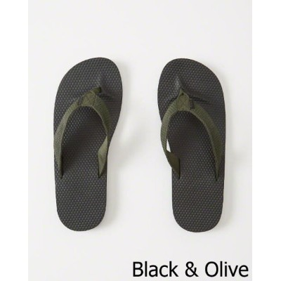 ◆【新品】アバクロ【Mensメンズ】MIX素材 ラバービーチサンダル/Black And Olive【Mixed Media Rubber Flip Flops】【Abercrombie&Fitch...