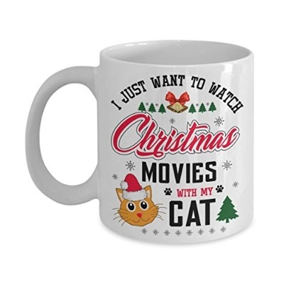 Kiwiスタイル面白い猫セラミックコーヒーマグカップ – I Just Want to WatchクリスマスMovies With My Cat Mug | Bestクリスマス、誕生日ギフトfor...