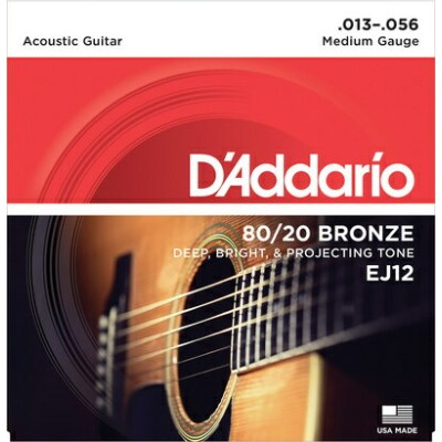 D'Addario 《ダダリオ》 80/20 Bronze Round Wound Acoustic Guitar Strings EJ12 Medium