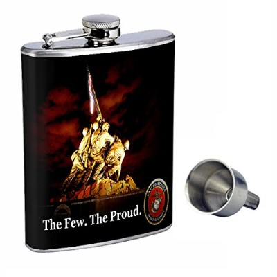 Marines Perfection inスタイル8オンスステンレススチールWhiskey Flask with Free Funnel d-001