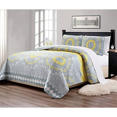 (Queen, Yellow) - MK Home Mk Collection 3pc Queen Over Size 270cm x 240cm Bedspread Quilt Over size...