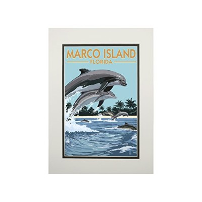 Marco島、フロリダ州–Dolphins Jumping 11 x 14 Matted Art Print LANT-42865-11x14M