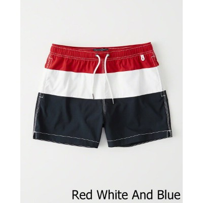 Abercrombie&Fitch (アバクロンビー&フィッチ) ライナー 裏地付き スイムパンツ (水着) (Classic Trunks) メンズ (Red White And Blue) 新品...