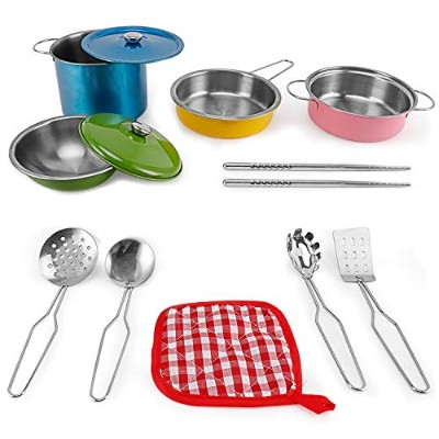 Colorful Metal Pots and Pans Kitchen Cookware Playset for Kids with Cooking Utensils Set Model: by...