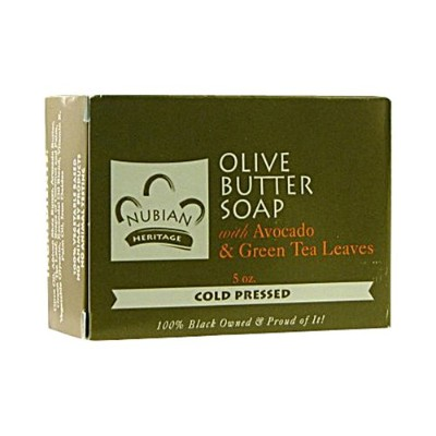 海外直送品Nubian Heritage Bar Soap, Olive and Green Tea 5 OZ (Pack of 5)
