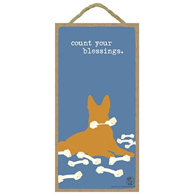 """( sjt16510) Count Your Blessings 5"""" x 10""""木製Plaque Featuring theアートワークの犬はGood"""